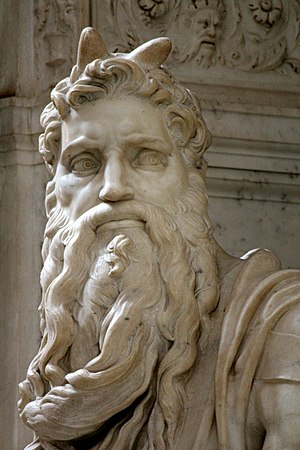 Moses (Michelangelo) - Michelangelo's Moses, detail with horns