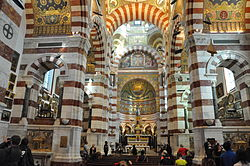 (Marseille, France), nave an choir of Basilique Notre-Dame de la Garde.JPG