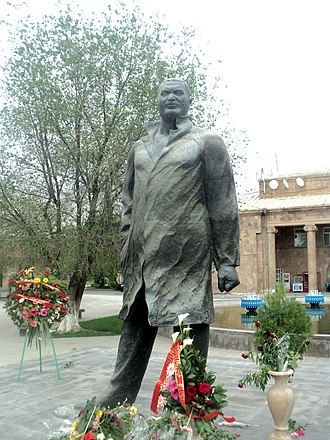 Ararat, Armenia - The statue of Vazgen Sargsyan at the central square