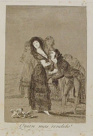 Capricho nº 27: ¿Quién más rendido? de Goya, s...