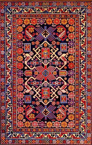 Azerbaijani rug - An Azerbaijani carpet from the Shirvan group from Bijo village, mid-19th century.