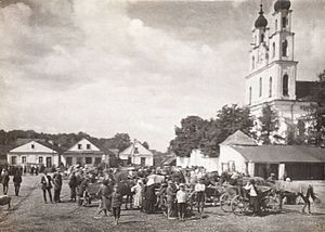 Dzyatlava - Market square in Zdzięcioł, 1938, before the Soviet invasion of Poland