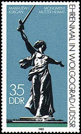 The Motherland Calls - Monument The Motherland Calls on the GDR mark of 1983