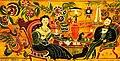 Ф. С. Краснояров. Чаепитие с хозяйством (Быт семьи и её привкусы). Панно, 1935.jpg
