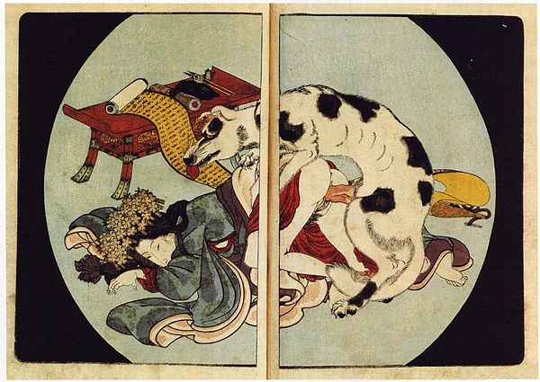 "Japanese ukiyo-e woodblock print from Utagawa Kunisada's series, ""Eight Canine Heroes of the House of Satomi"", 1837. - Zoophilia"