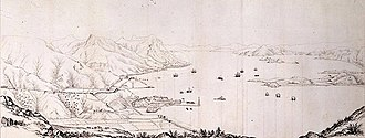 Victoria Harbour - View of Victoria Harbour from a hill, 1845