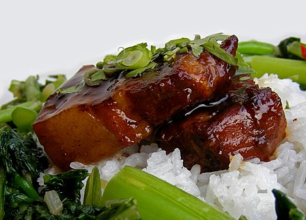 Hongshao rou is a classic pork dish from mainland China, cooked using pork belly and a combination of ginger, garlic, aromatic spices, chilli peppers, sugar, light and dark soy, and rice wine.