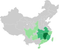 赣语在中国的分布情况
