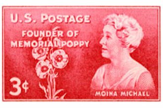Remembrance poppy - Moina Michael on a 1948 U.S. commemorative stamp
