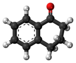 Ball-and-stick model of the 1-tetralone molecule