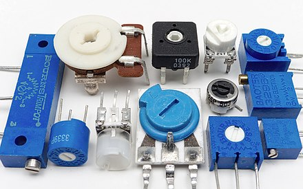 An assortment of small through-hole potentiometers designed for mounting on printed circuit boards. 12 surface mount potentiometers.jpg