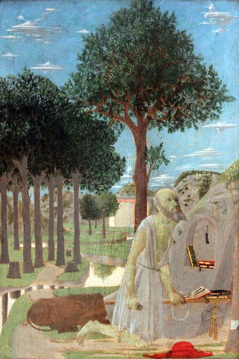 1450 Francesca Landschaft mit büßendem hl.  Иероним анагория.JPG