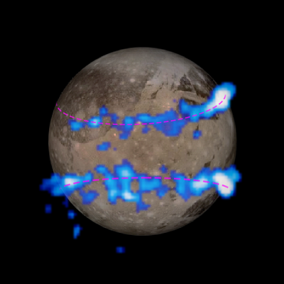 12 March: Aurorae on Ganymede, largest moon of planet Jupiter - auroral belt shifting may indicate a subsurface saline ocean. 15-33i2-JupiterMoon-Ganymede-Aurora-20150312.png