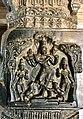 15th century Hazara Rama temple Krishna with flute pillar relief, Hampi Hindu monuments Karnataka.jpg