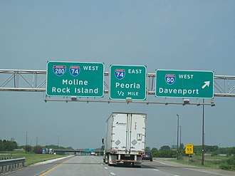 Interstate 80 in Illinois - I-80 in Moline