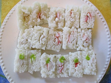 Square-style makizushi made without nori. The bottom pieces have been seasoned with wasabi. 16 pieces of maki-zushi with wasabi on the bottom 6.jpg