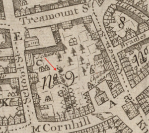 Pi Alley (Boston) - Image: 1743 Savages Court Boston map William Price