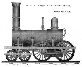 Henry Roe Campbell - 1836 picture of the first 4-4-0 steam locomotive