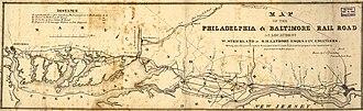Philadelphia, Wilmington and Baltimore Railroad - Image: 1850s PW&B map