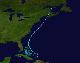 1877 Atlantic hurricane season - Image: 1877 Atlantic tropical storm 1 track