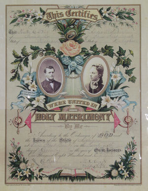 A photograph of a wedding license from 1883.