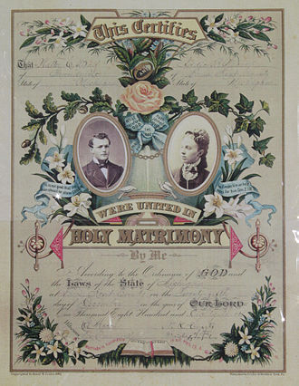 Marriage certificate - Image: 1883 wedding lic