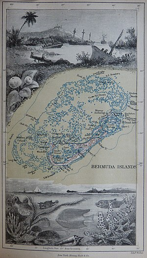 Bermuda rig - 1885 Map of Bermuda and its reefs by Anna Brassey, illustrating the perils of tacking in Bermuda's waters.