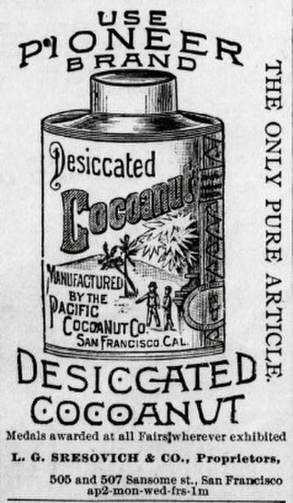 Food drying - 1890 newspaper advertisement showing tin of dried coconut