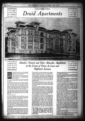 Briarcliff Plaza - 1917 advertisement promoting the Druid Apartments