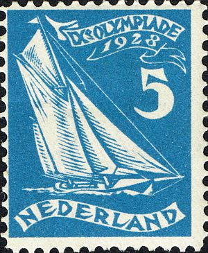 Sailing at the 1928 Summer Olympics - Image: 1928 Summer Olympics stamp of the Netherlands sailing