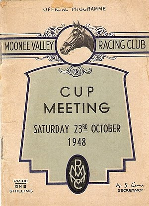 W.S. Cox Plate - Image: 1948 MVRC W. S. Cox Plate Racebook P1