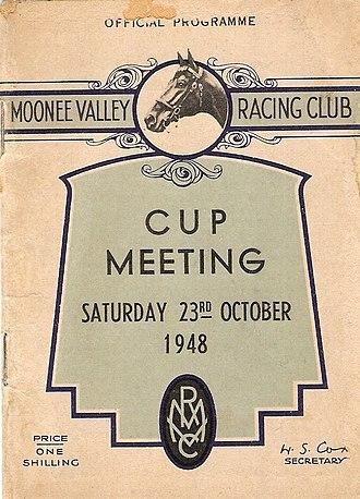 W.S. Cox Plate - Image: 1948 MVRC W. S. Cox Plate Racebook P1