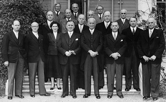 Holland and other Cabinet ministers with the Governor-General, Sir Willoughby Norrie, at Government House, 27 November 1954 1954 Cabinet with the Governor-General.jpg