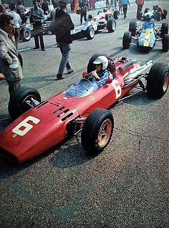 1966 Italian Grand Prix - Race winner Ludovico Scarfiotti inside his Ferrari 312 before the start