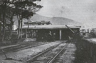 Cape Town railway station - Cape Town's first railway station. circa 1870.