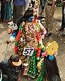 1st day procession with costumed Shiva Parvati composite deity Ardhnarishvara at the Hindu festival Onam in Kerala.jpg