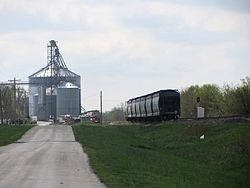 Grain elevator and railroad in Pittwood