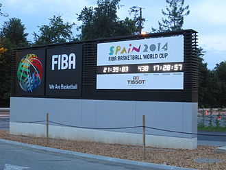 2014 FIBA Basketball World Cup - Countdown clock outside the FIBA headquarters in Mies, Switzerland as of June 2013.