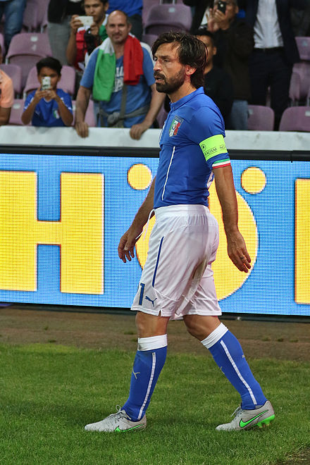 Pirlo playing for Italy in 2015 20150616 - Portugal - Italie - Geneve - Andra Pirlo.jpg