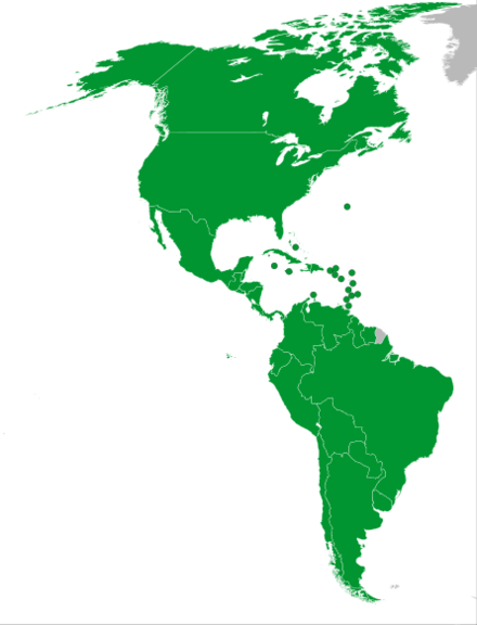 A map of all 41 participating nations 2015 Pan American Games Participating Countries.png