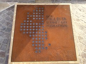 Valletta Summit on Migration - Plaque commemorating the 2015 Summit Meeting on Migration under the Knot Monument