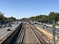 2018-10-23 12 14 45 View west along Interstate 66 and the Orange Line of the Washington Metro from the overpass for Vaden Drive (Virginia State Route 6731) in Oakton, Fairfax County, Virginia.jpg
