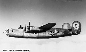 389th Strategic Missile Wing - Consolidated B-24J-145-CO Liberator Serial 44-40052 of the 565th Bomb Squadron.