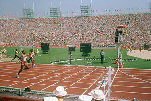 Athletics at the 1984 Summer Olympics – Men's 400 metres - Alonzo Babers wins heat of the 400 meters.