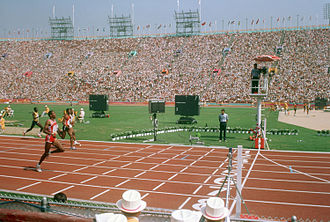 Athletics at the 1984 Summer Olympics - Athletes during the 400 metres event