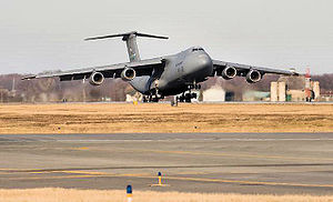 """436th Operations Group - Dover's first Lockheed C-5M Super Galaxy, (Modified C-5B 86-0025), """"Spirit of Global Reach"""", arriving on 9 February 2009"""