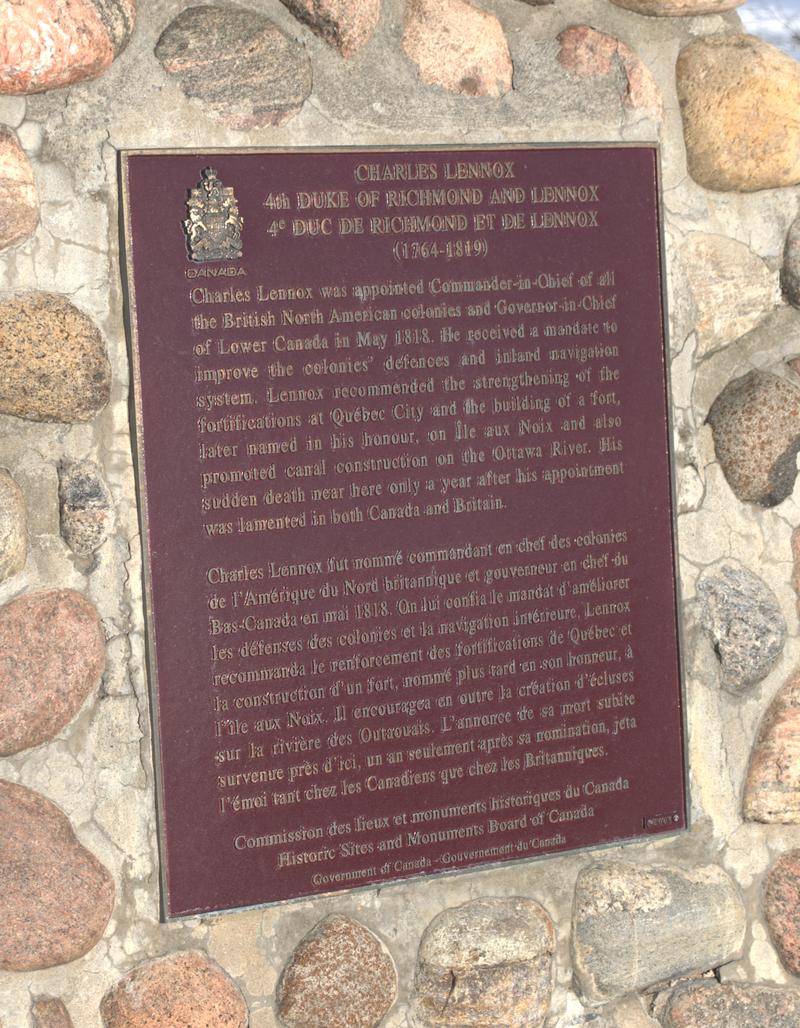 4th Duke of Richmond, plaque.png