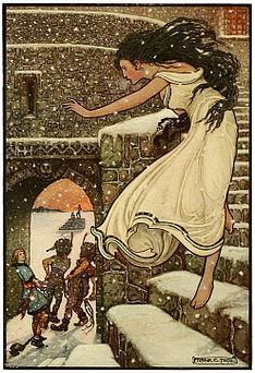 5 Then the Princess ran with her feet all bare out into the open corridor - Russian Fairy Book 1916, illustrator Frank C Pape.jpg