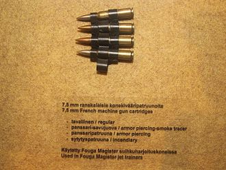 7.5×54mm French - Belted 7.5×54mm French ammunition for use in the MAC 52 aircraft variant of the AA-52 machine gun.