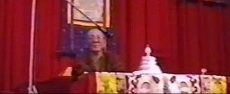 9th Jebtsundamba Khutughtu - The 9th Jebtsundamba Khutughtu giving teachings in 1999 in Moscow.